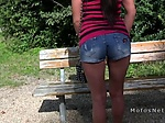 Russian teen bangs in the public park