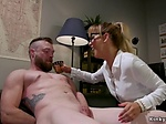 Mistress wanking cock to her male slave