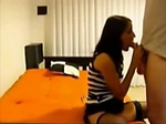 Super hot brunette sucks and fucks on hidden cam