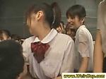 Hot Japanese chicks massaging two studs