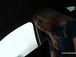 Teen hitchhiker gets cumshot in car