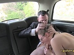 Female taxi driver fuck on backseat
