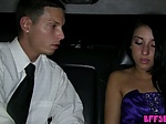 Classy teen seduces and fucks her chauffeur in a limo