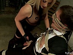 Busty blonde shemale wanks cock to bisinessman