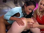 Blonde bombshell anal toys two lesbians
