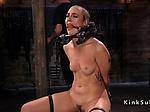 Locked neck slave gets head trimmed