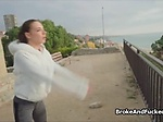 Public fucky sucky with busty teen jogger