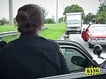 Two women cops follow a black guy in a vehicle