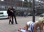Busty bombshells disgraced in public