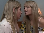 Petite blonde comforts her sad friend by licking her pu