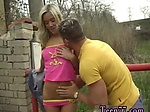 Blonde stud and babe Josje screwing her lover outdoors