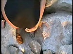 Babe Pooping Diarrhea on the Rock
