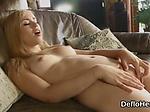 Naked virgin hottie masturbates on the sofa