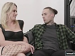 Sexy blonde Tgirl and tattooed guy hardcore anal sex