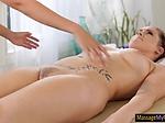 Edyn Blair and Lyra Law steamy lesbian sex on massage t