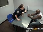 Black dick gets ridden on the desk