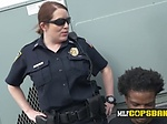 Two female police officers see a black pervert guy on t