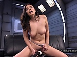 Natural busty solo babe rides Sybian