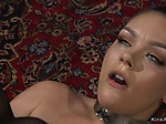 Tied up lesbian anal fucked by busty dom