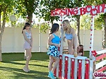Teens licked pussies at the kissing booth