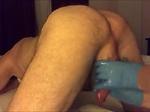 Femdom prostate milking with gloves