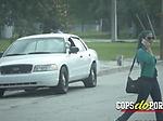 Perverted milf cops make thief stuff their beavers hard