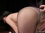 Bound lesbian brunette gets ass whipped