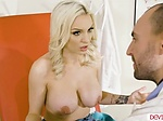 Busy blonde babe titfucks doctors cock