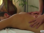 Sexy Masseuse TS Tori Mayes pleasures her clients cock
