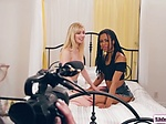 2 teens on 3some with lesbian direc...