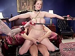 Tied up huge tits slaves banged threesome