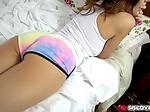 Michele James spread her legs wide ...