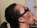 Foxy sex kitten gets jizz load on her face gulping all