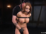 Strapped busty babe ass whipped