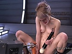 Fucking machine with long toy in blonde