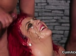 Randy model gets cumshot on her face swallowing all the