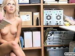 Shoplifter Allie Nicole kneels and sucks LPs bigcock