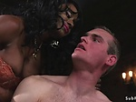 Muscled black mistress rides male sub