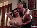 Busty tattooed babe throats and pussy rammed by big dic