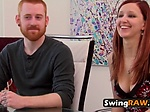 Sassy Laura gets her titties sucked by horny swinger du
