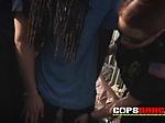 Milf cops take rhasta criminal to an alley for a bangin