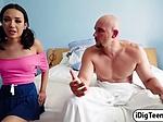 Teen babe Kiley fucks her stepmums bf to gain orgasm