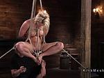 Hogtied blonde gets double penetration