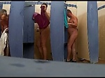 Mature housewives spied at camping shower