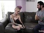Tattooed whore gets drilled in her asshole on the couch