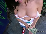Natural busty Latina sucks in public
