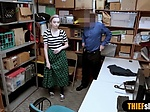Cute skinny teen thief has to fuck for her freedom