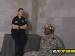 Sexy busty cops bust a fake soldier on the street and t
