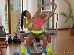 Asian fitness coach licks blonde Milf