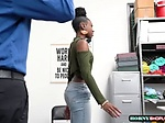 Ebony teen Amari Anne mounts officers cock in her pussy